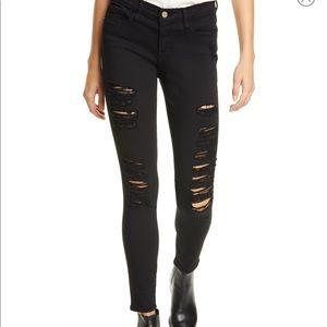 FRAME Le color ripped skinny jean. Size 24 BLACK